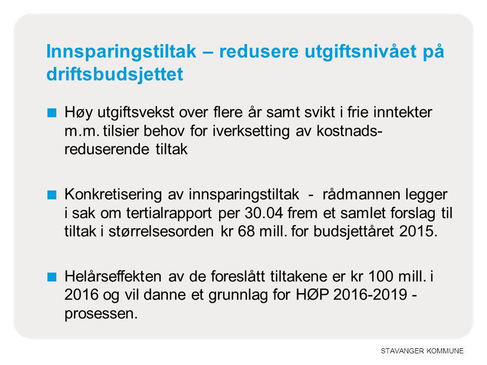 STAVANGER KOMMUNE Innsparingstiltak – redusere utgiftsnivået på driftsbudsjettet ■ Høy utgiftsvekst over flere år samt svikt i frie inntekter m.m.