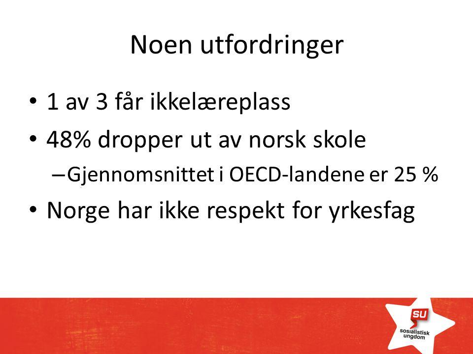 Noen utfordringer 1 av 3 får ikkelæreplass 48% dropper ut av norsk skole – Gjennomsnittet i OECD-landene er 25 % Norge har ikke respekt for yrkesfag