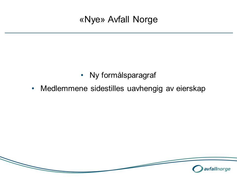 «Nye» Avfall Norge Ny formålsparagraf Medlemmene sidestilles uavhengig av eierskap