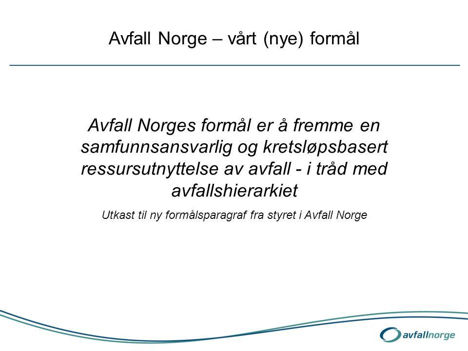 Avfall Norge – vårt (nye) formål Avfall Norges formål er å fremme en samfunnsansvarlig og kretsløpsbasert ressursutnyttelse av avfall - i tråd med avf