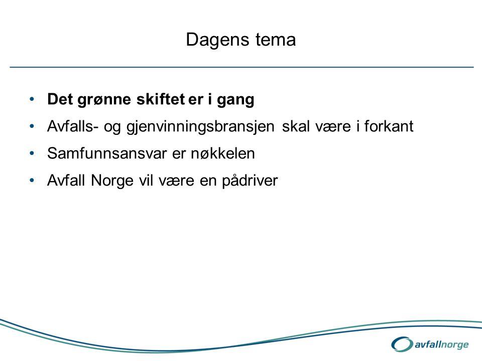 Dagens tema Det grønne skiftet er i gang Avfalls- og gjenvinningsbransjen skal være i forkant Samfunnsansvar er nøkkelen Avfall Norge vil være en pådr