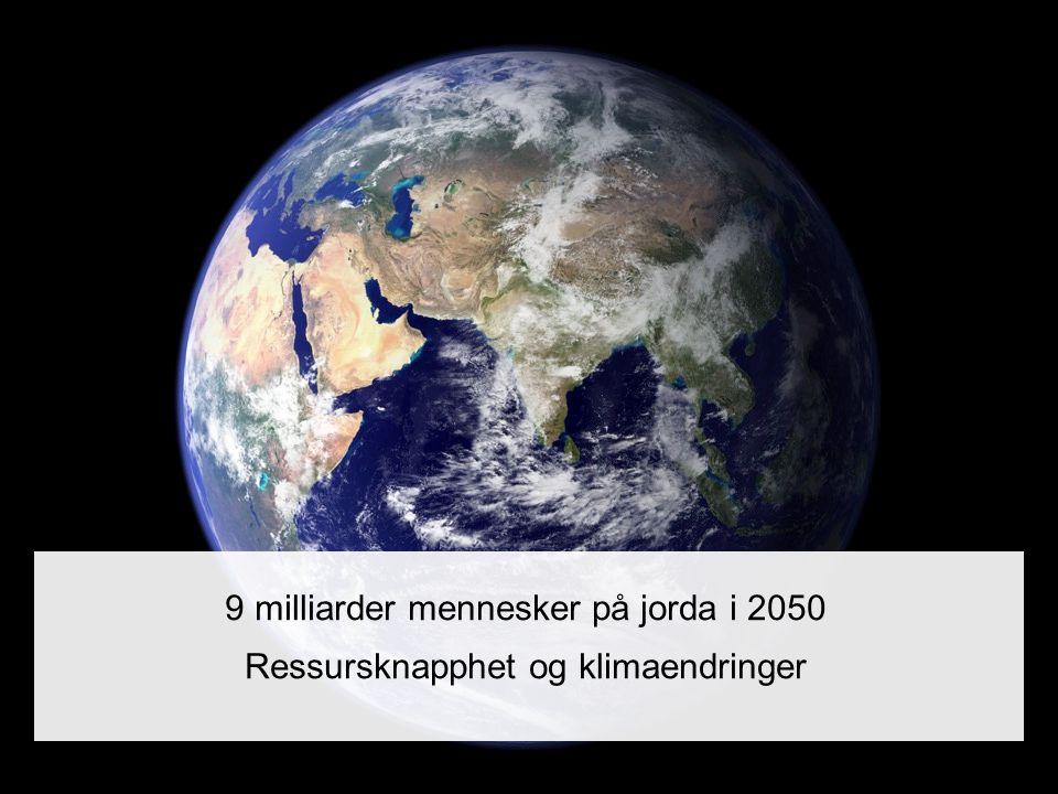 9 milliarder mennesker på jorda i 2050 Ressursknapphet og klimaendringer