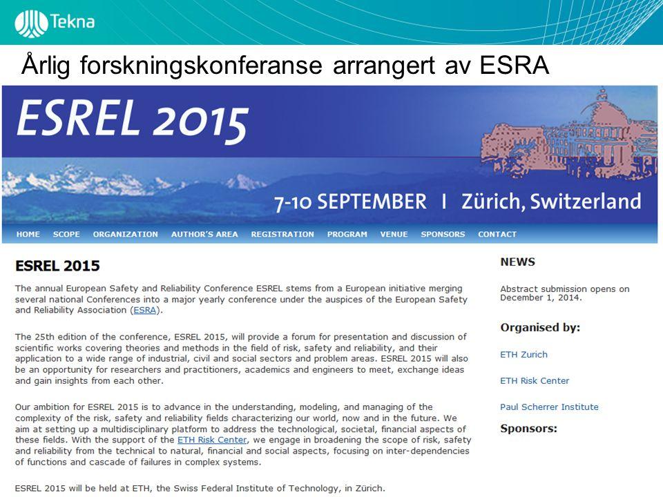 Tekna – Teknisk-naturvitenskapelig forening Årlig forskningskonferanse arrangert av ESRA