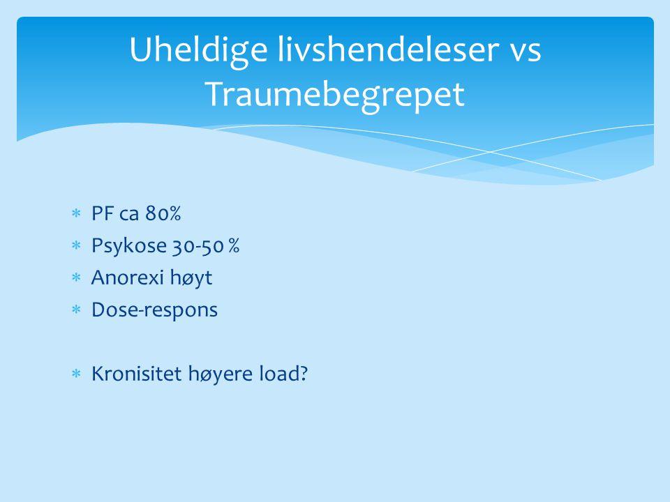 PF ca 80%  Psykose 30-50 %  Anorexi høyt  Dose-respons  Kronisitet høyere load? Uheldige livshendeleser vs Traumebegrepet