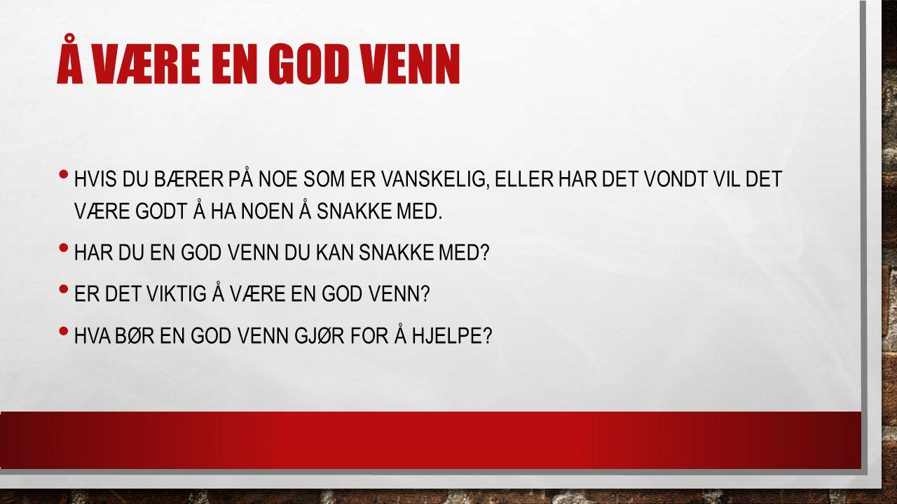 Å VÆRE EN GOD VENN HVIS DU BÆRER PÅ NOE SOM ER VANSKELIG, ELLER HAR DET VONDT VIL DET VÆRE GODT Å HA NOEN Å SNAKKE MED. HAR DU EN GOD VENN DU KAN SNAK