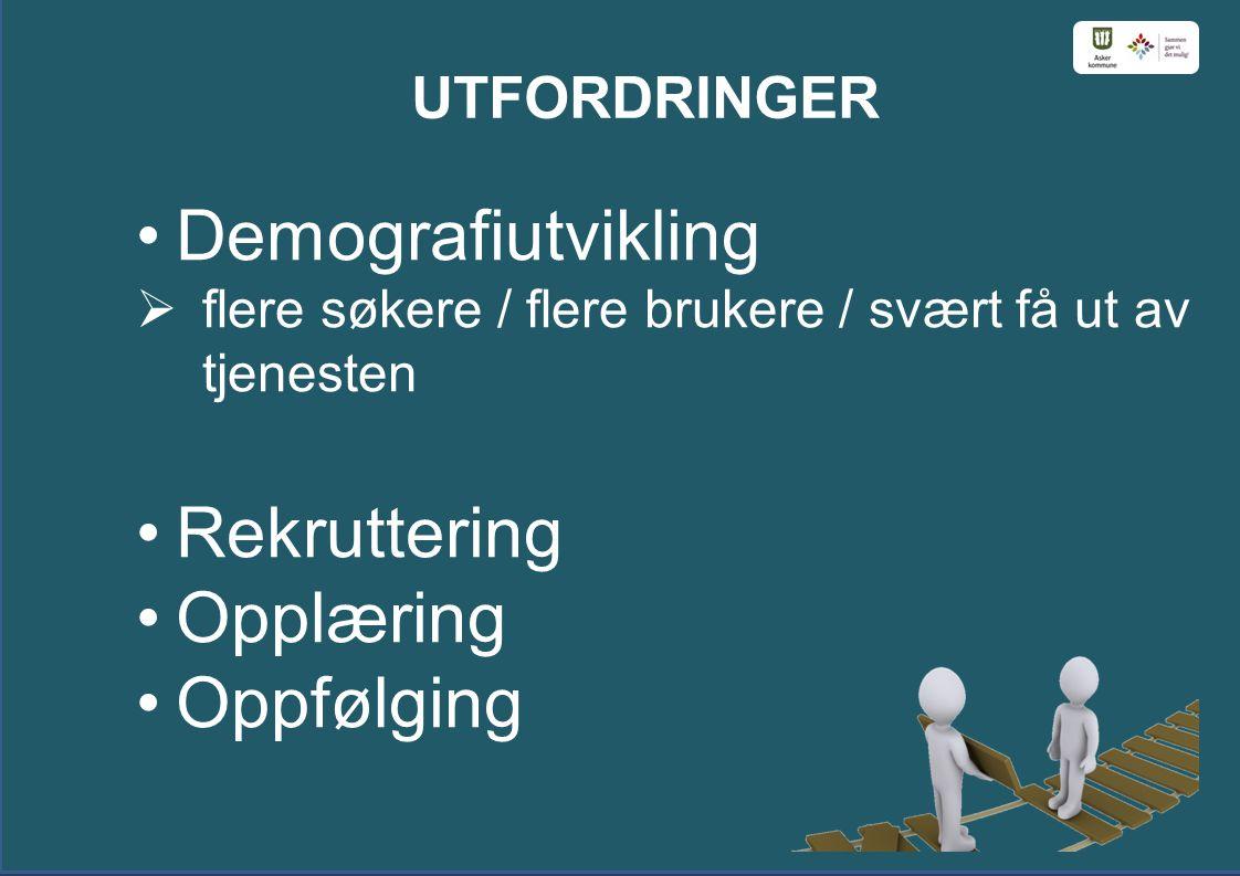 UTFORDRINGER Demografiutvikling  flere søkere / flere brukere / svært få ut av tjenesten Rekruttering Opplæring Oppfølging
