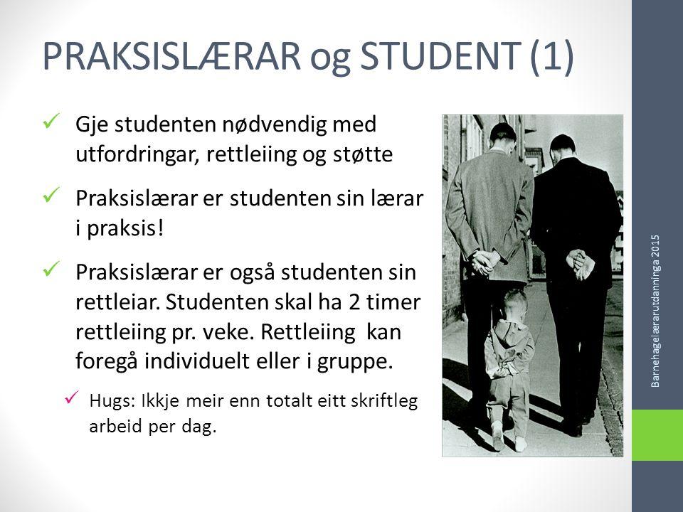 PRAKSISLÆRAR og STUDENT (1) Gje studenten nødvendig med utfordringar, rettleiing og støtte Praksislærar er studenten sin lærar i praksis.