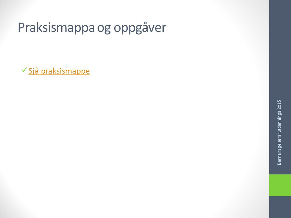 Praksismappa og oppgåver Sjå praksismappe Barnehagelærarutdanninga 2015