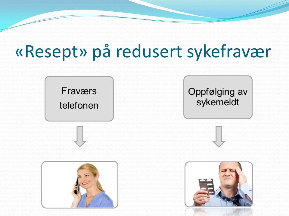 «Resept» på redusert sykefravær Fraværs telefonen Oppfølging av sykemeldt