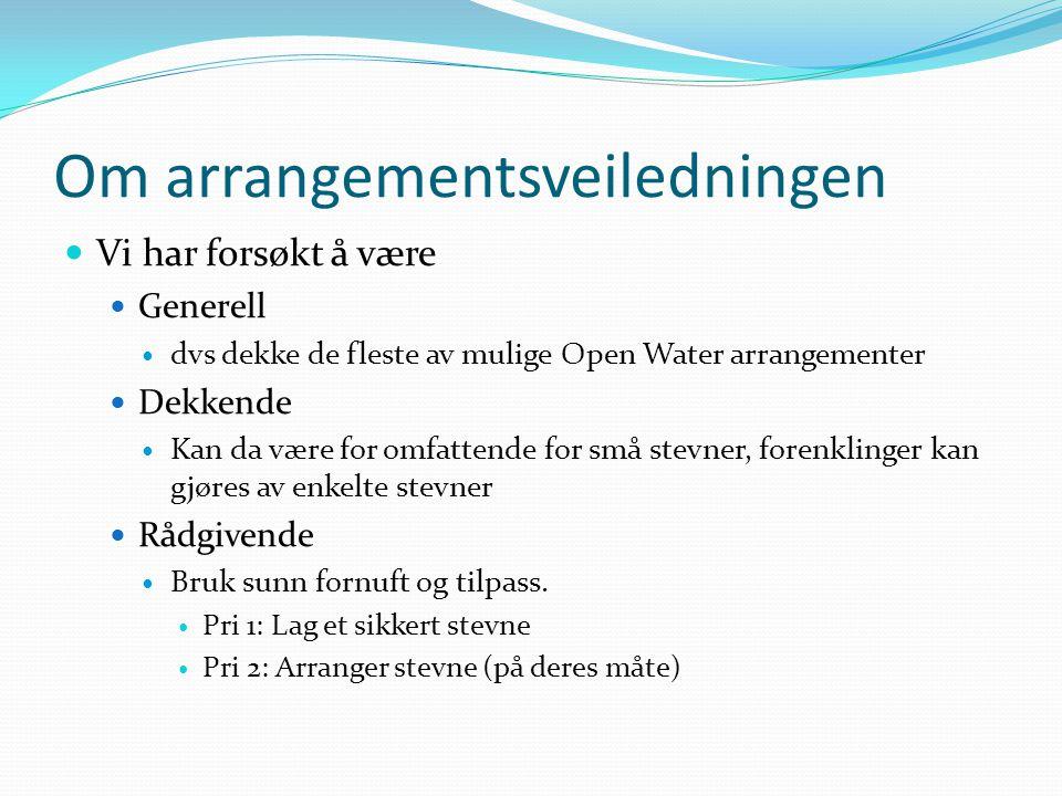 Om arrangementsveiledningen Vi har forsøkt å være Generell dvs dekke de fleste av mulige Open Water arrangementer Dekkende Kan da være for omfattende