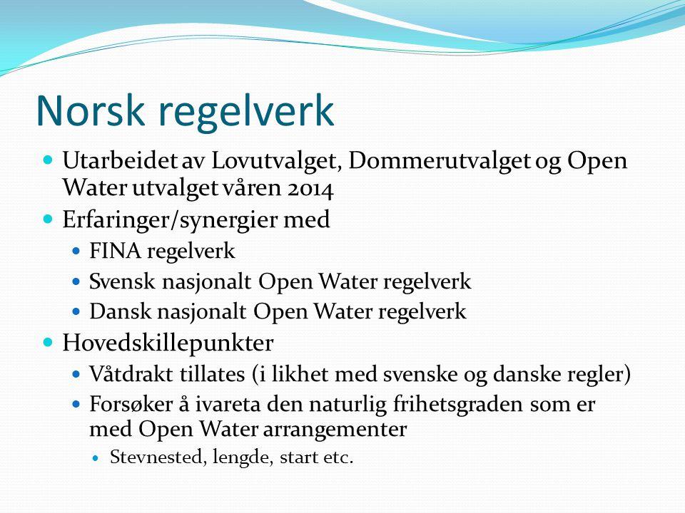 Norsk regelverk Vedtatt i forbundsstyret som gjeldende foreløbig til neste svømmeting.