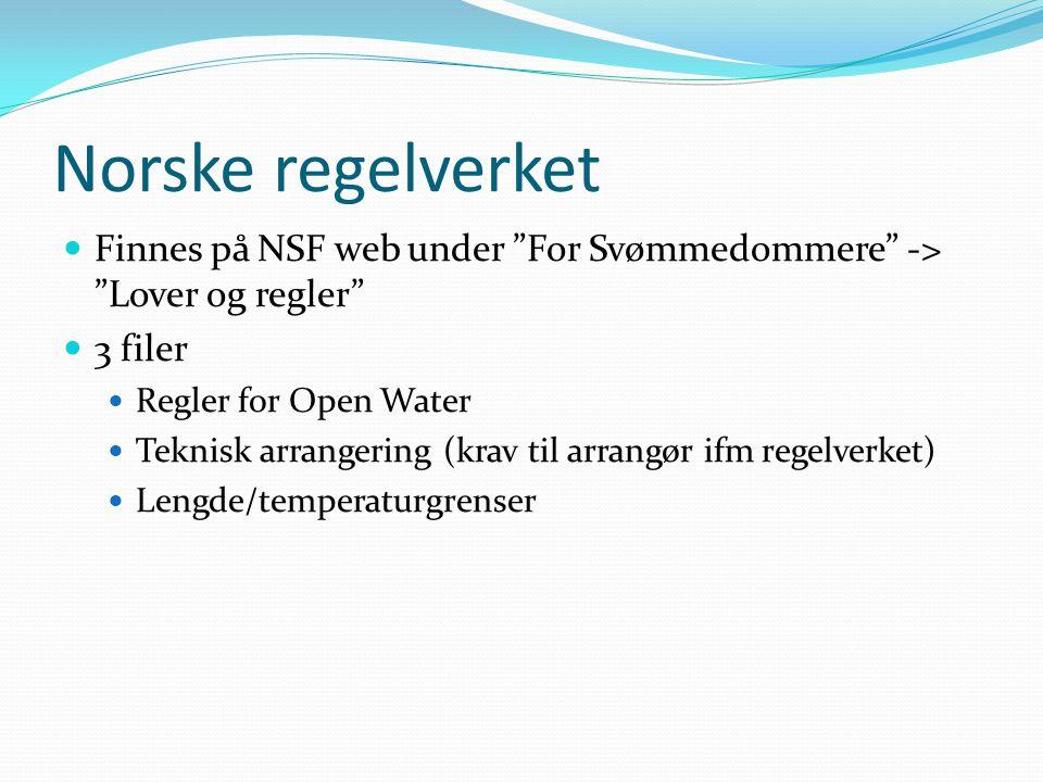 Hovedpunkter regler Starten kan foregå på land eller i vann Konkurranseområdet Banen skal være i vann som bare har minimal strøm.