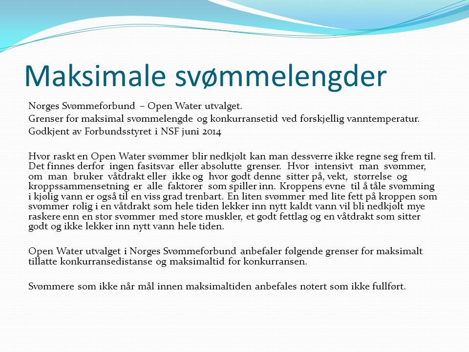 Maksimale svømmelengder Norges Svømmeforbund – Open Water utvalget.