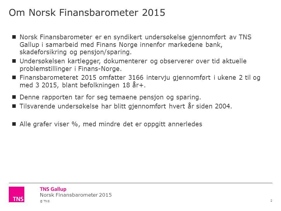 © TNS Om Norsk Finansbarometer 2015 2 Norsk Finansbarometer er en syndikert undersøkelse gjennomført av TNS Gallup i samarbeid med Finans Norge innenfor markedene bank, skadeforsikring og pensjon/sparing.
