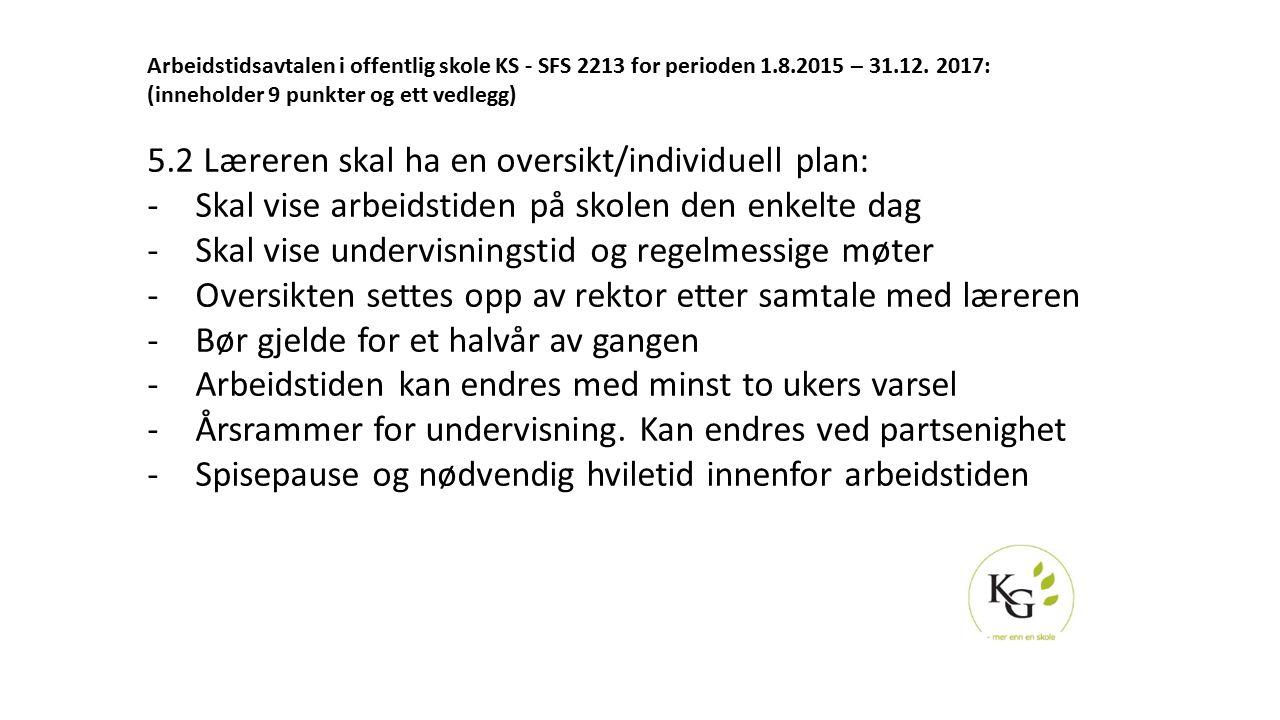 Arbeidstidsavtalen i offentlig skole KS - SFS 2213 for perioden 1.8.2015 – 31.12. 2017: (inneholder 9 punkter og ett vedlegg) 5.2 Læreren skal ha en o
