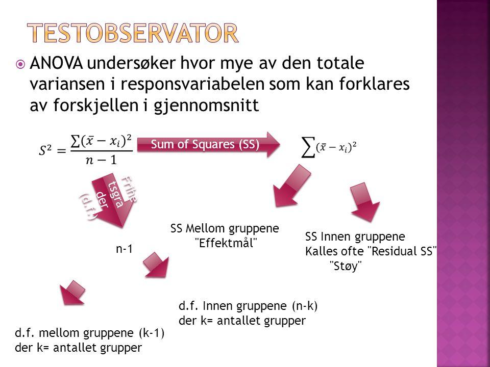  ANOVA undersøker hvor mye av den totale variansen i responsvariabelen som kan forklares av forskjellen i gjennomsnitt Sum of Squares (SS) SS Mellom gruppene Effektmål SS Innen gruppene Kalles ofte Residual SS Støy Frihe tsgra der (d.f.) d.f.
