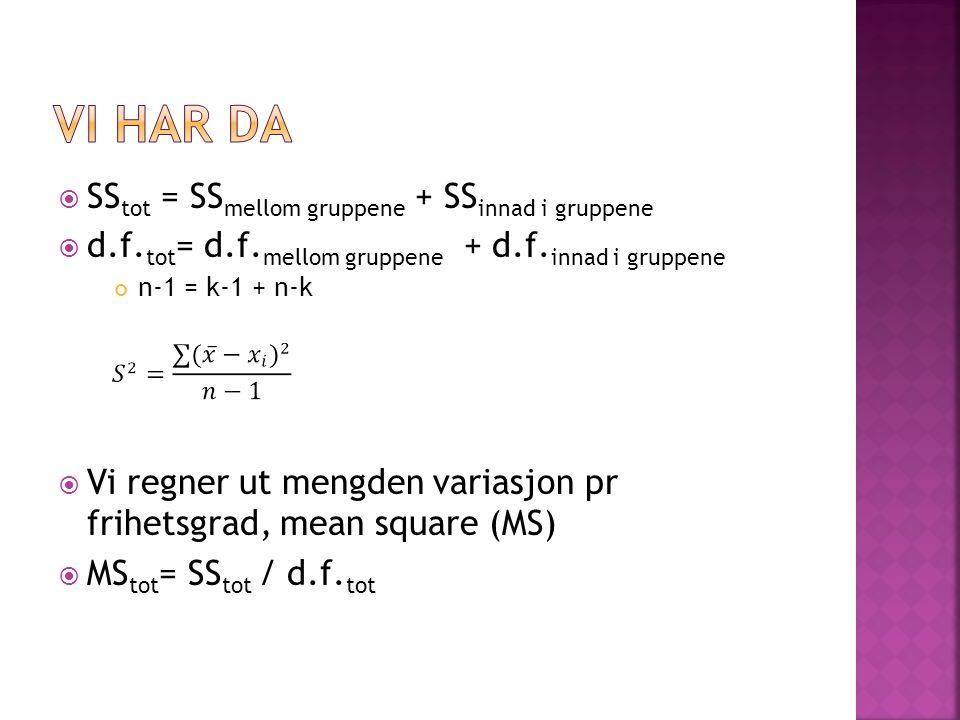  SS tot = SS mellom gruppene + SS innad i gruppene  d.f. tot = d.f. mellom gruppene + d.f. innad i gruppene n-1 = k-1 + n-k  Vi regner ut mengden v
