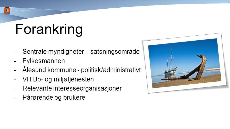 -Sentrale myndigheter – satsningsområde -Fylkesmannen -Ålesund kommune - politisk/administrativt -VH Bo- og miljøtjenesten -Relevante interesseorganis