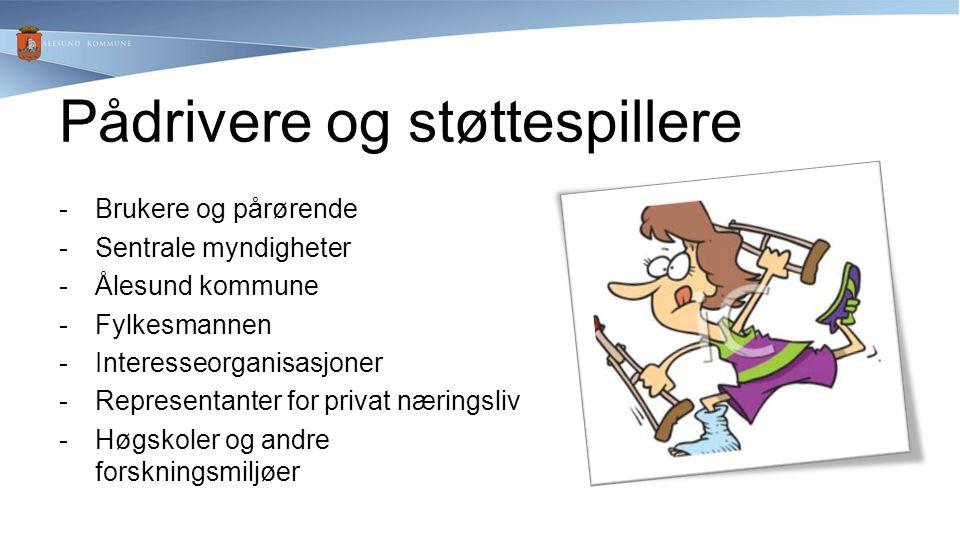 -Brukere og pårørende -Sentrale myndigheter -Ålesund kommune -Fylkesmannen -Interesseorganisasjoner -Representanter for privat næringsliv -Høgskoler o
