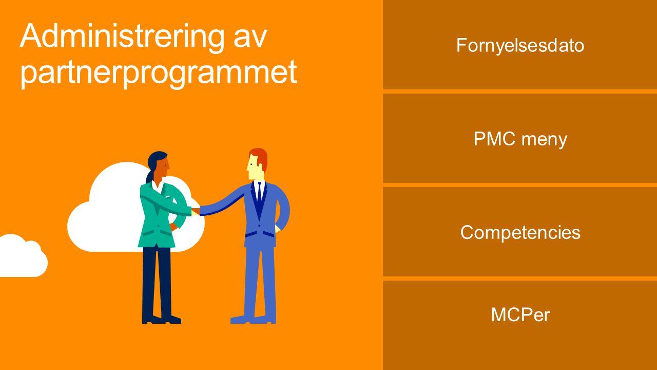 Administrering av partnerprogrammet Fornyelsesdato PMC meny Competencies MCPer