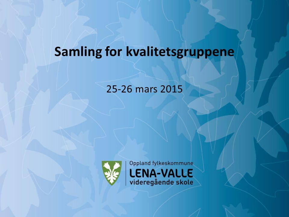Mulighetenes Oppland Lena-Valle videregående skole Samling for kvalitetsgruppene 25-26 mars 2015