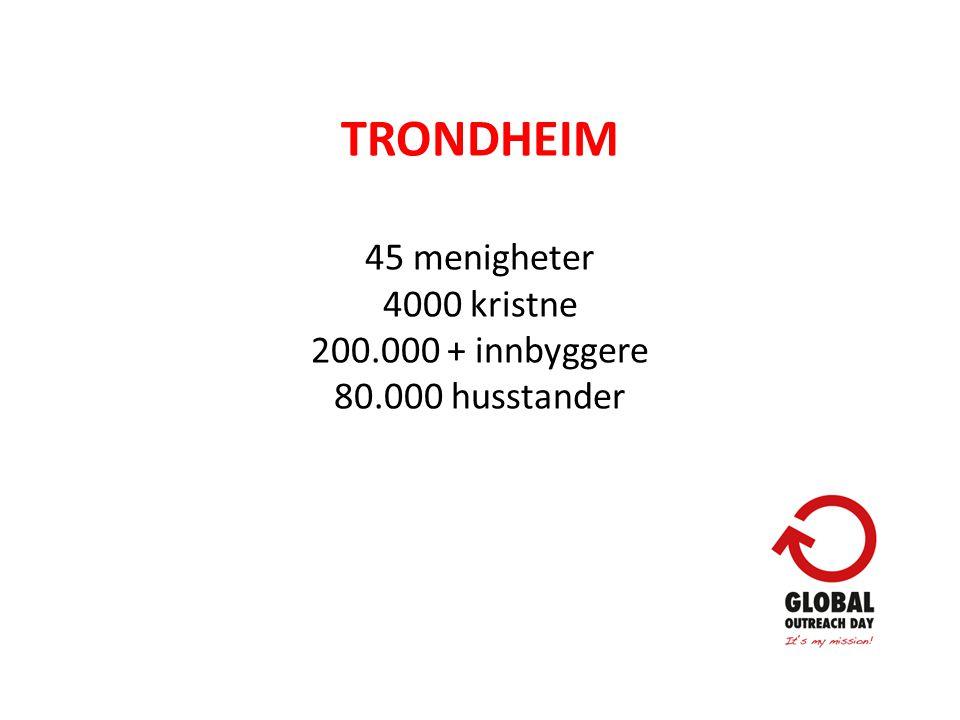 TRONDHEIM 45 menigheter 4000 kristne 200.000 + innbyggere 80.000 husstander