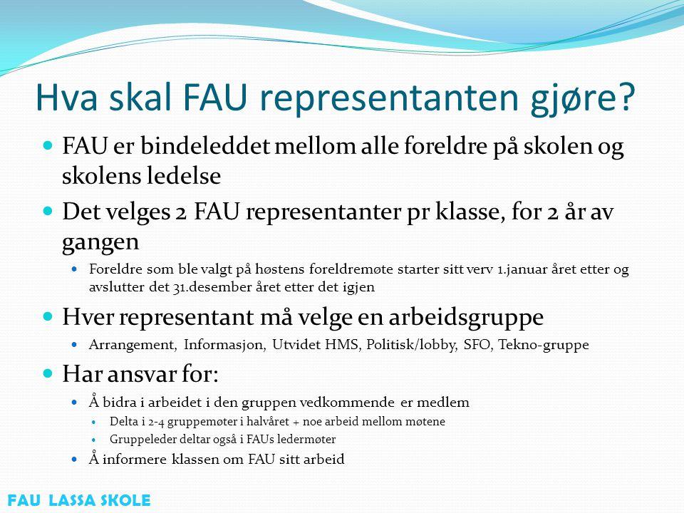 Organisering av FAU ved Lassa Skole FAU-leder SFOArrangementUtvidet HMSTekno gruppePolitisk/lobby Kasserer/Info- ansvarlig