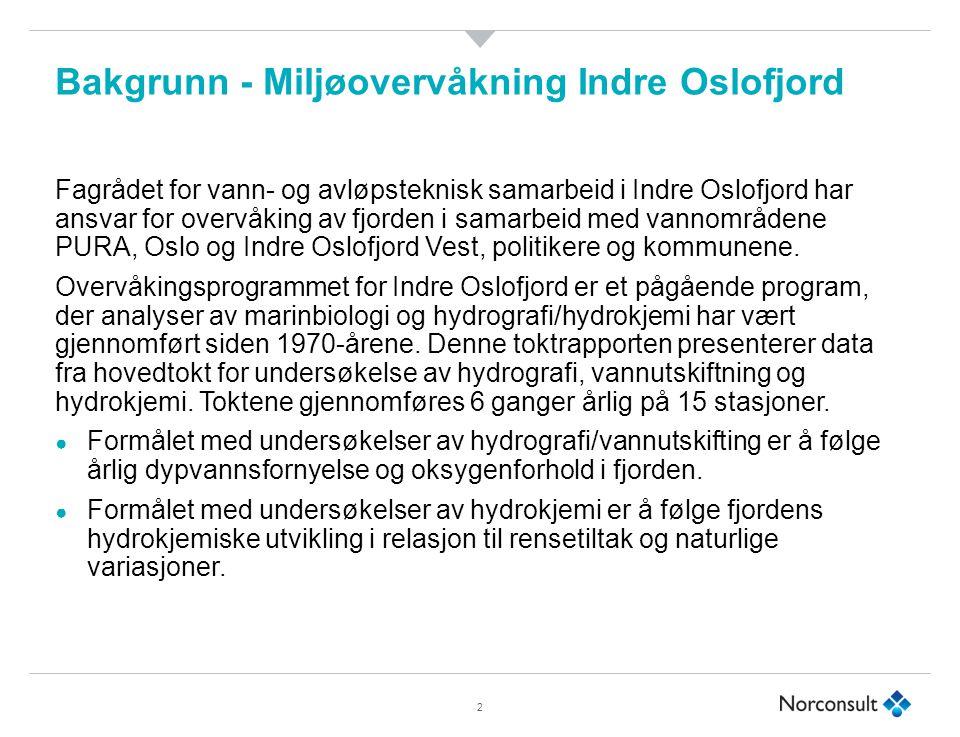 Bakgrunn - Miljøovervåkning Indre Oslofjord Fagrådet for vann- og avløpsteknisk samarbeid i Indre Oslofjord har ansvar for overvåking av fjorden i samarbeid med vannområdene PURA, Oslo og Indre Oslofjord Vest, politikere og kommunene.