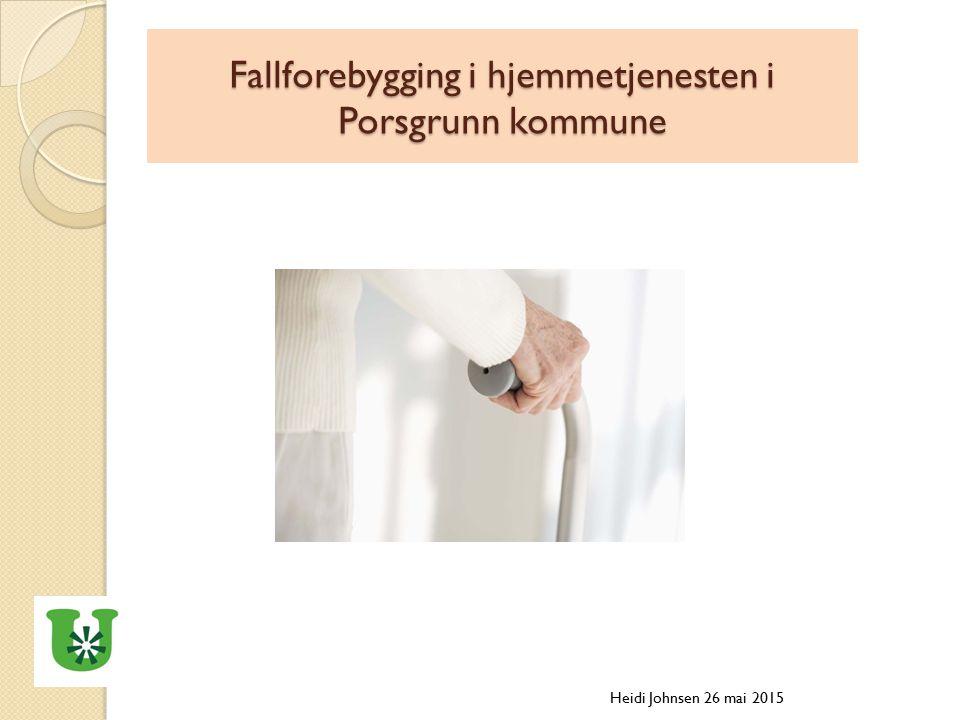 Fallforebygging i hjemmetjenesten i Porsgrunn kommune Heidi Johnsen 26 mai 2015