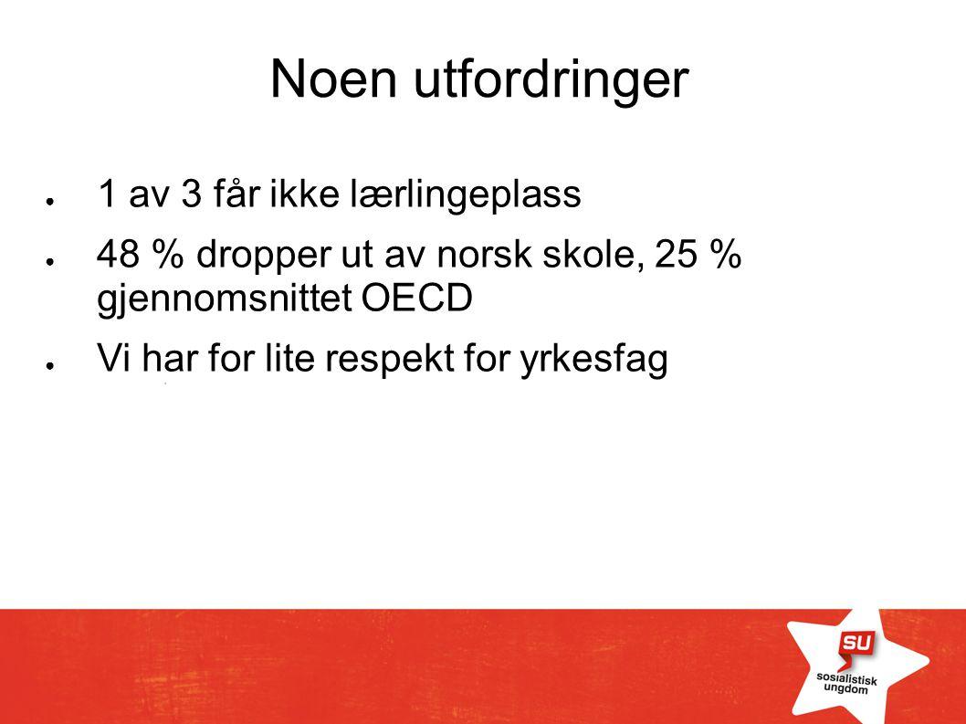 Noen utfordringer ● 1 av 3 får ikke lærlingeplass ● 48 % dropper ut av norsk skole, 25 % gjennomsnittet OECD ● Vi har for lite respekt for yrkesfag