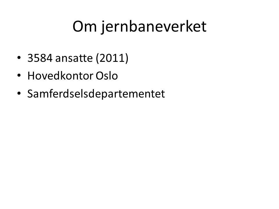 Om jernbaneverket 3584 ansatte (2011) Hovedkontor Oslo Samferdselsdepartementet