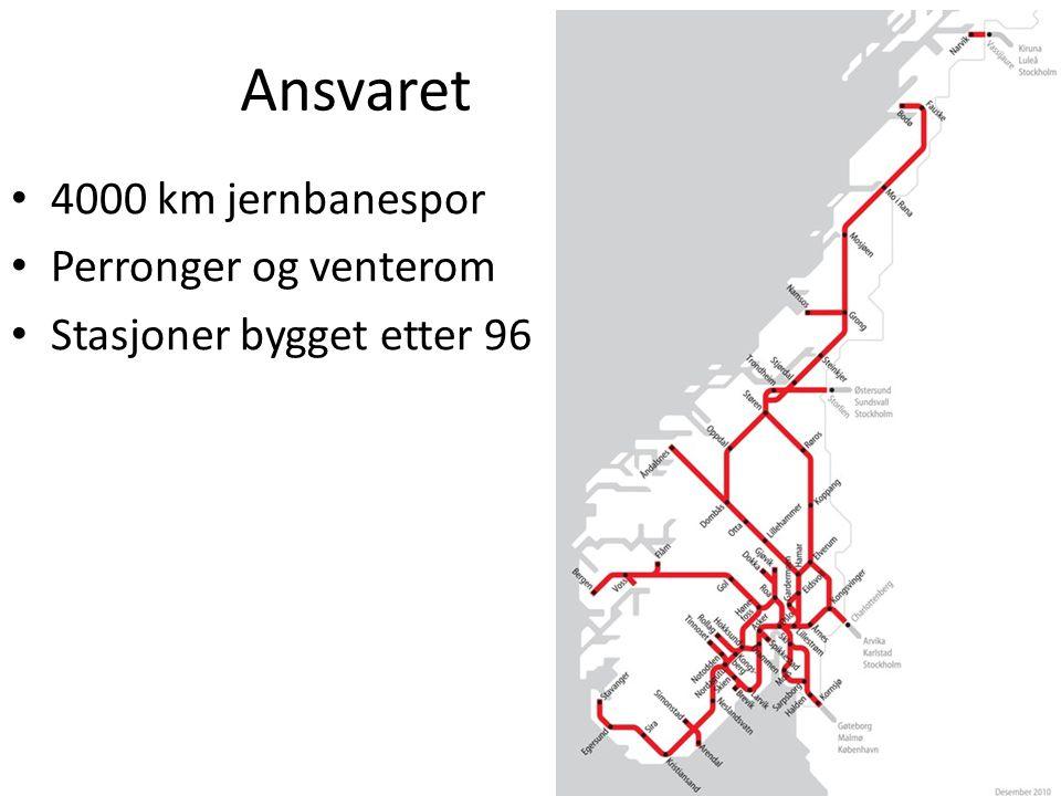 Ansvaret 4000 km jernbanespor Perronger og venterom Stasjoner bygget etter 96