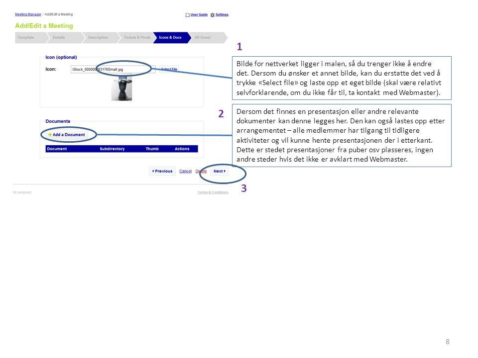 9 For at aktiviteten skal være synlig på nettsiden må den publiseres.