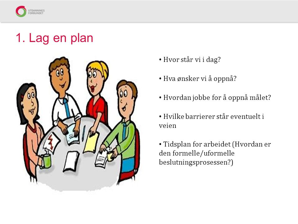 1. Lag en plan Hvor står vi i dag? Hva ønsker vi å oppnå? Hvordan jobbe for å oppnå målet? Hvilke barrierer står eventuelt i veien Tidsplan for arbeid