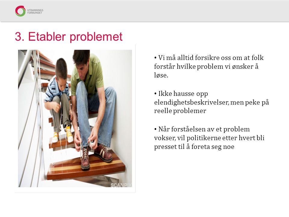 3. Etabler problemet Vi må alltid forsikre oss om at folk forstår hvilke problem vi ønsker å løse. Ikke hausse opp elendighetsbeskrivelser, men peke p