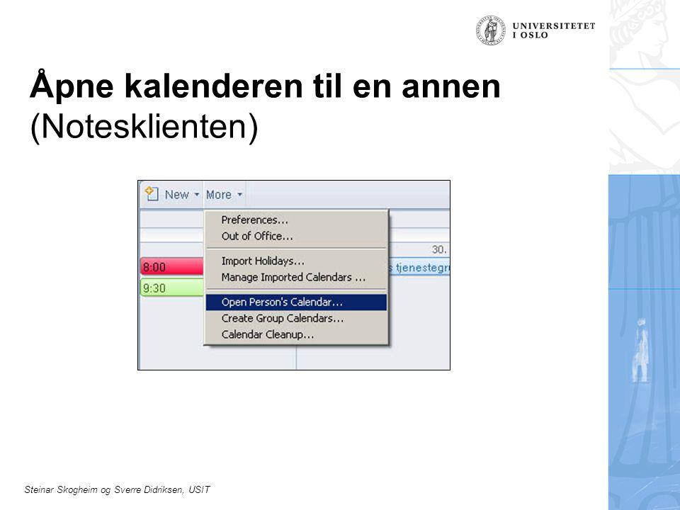 Steinar Skogheim og Sverre Didriksen, USIT Åpne kalenderen til en annen (Notesklienten)