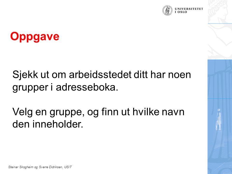Steinar Skogheim og Sverre Didriksen, USIT Oppgave Sjekk ut om arbeidsstedet ditt har noen grupper i adresseboka.