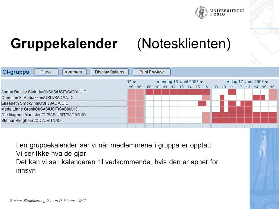 Steinar Skogheim og Sverre Didriksen, USIT Gruppekalender (Notesklienten) I en gruppekalender ser vi når medlemmene i gruppa er opptatt Vi ser ikke hva de gjør Det kan vi se i kalenderen til vedkommende, hvis den er åpnet for innsyn