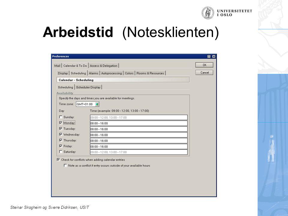 Steinar Skogheim og Sverre Didriksen, USIT Arbeidstid (Notesklienten)