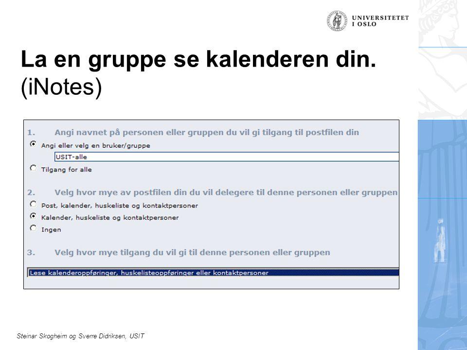 Steinar Skogheim og Sverre Didriksen, USIT La en gruppe se kalenderen din. (iNotes)