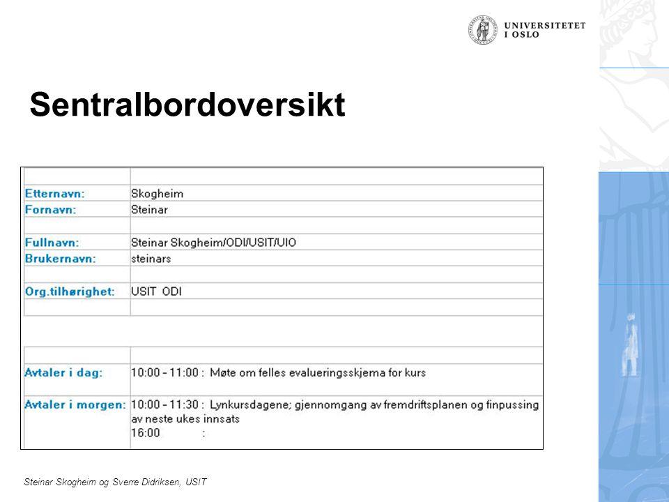 Steinar Skogheim og Sverre Didriksen, USIT Sentralbordoversikt