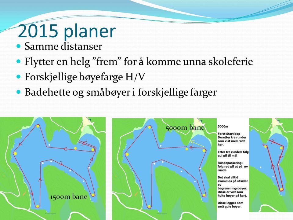 """2015 planer Samme distanser Flytter en helg """"frem"""" for å komme unna skoleferie Forskjellige bøyefarge H/V Badehette og småbøyer i forskjellige farger"""