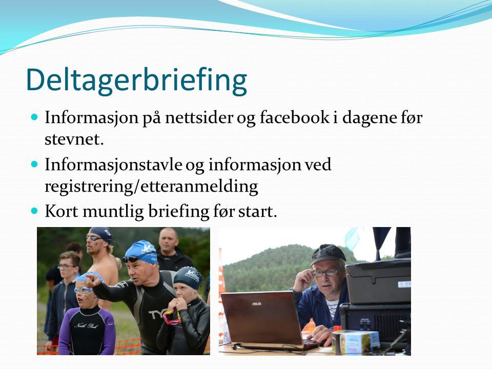 Deltagerbriefing Informasjon på nettsider og facebook i dagene før stevnet. Informasjonstavle og informasjon ved registrering/etteranmelding Kort munt