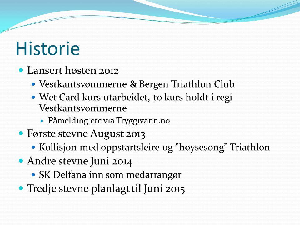 Historie Lansert høsten 2012 Vestkantsvømmerne & Bergen Triathlon Club Wet Card kurs utarbeidet, to kurs holdt i regi Vestkantsvømmerne Påmelding etc