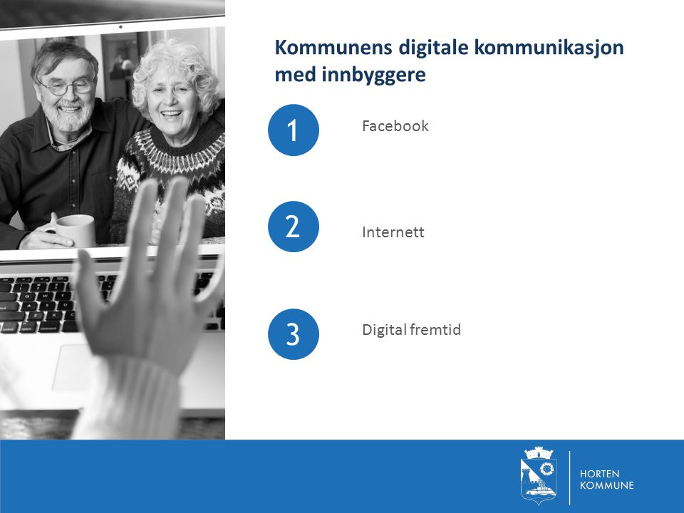 1 2 3 Kommunens digitale kommunikasjon med innbyggere Facebook Internett Digital fremtid
