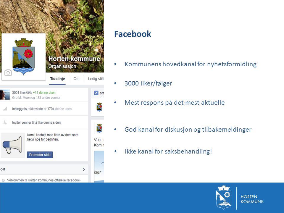 Facebook Kommunens hovedkanal for nyhetsformidling 3000 liker/følger Mest respons på det mest aktuelle God kanal for diskusjon og tilbakemeldinger Ikk