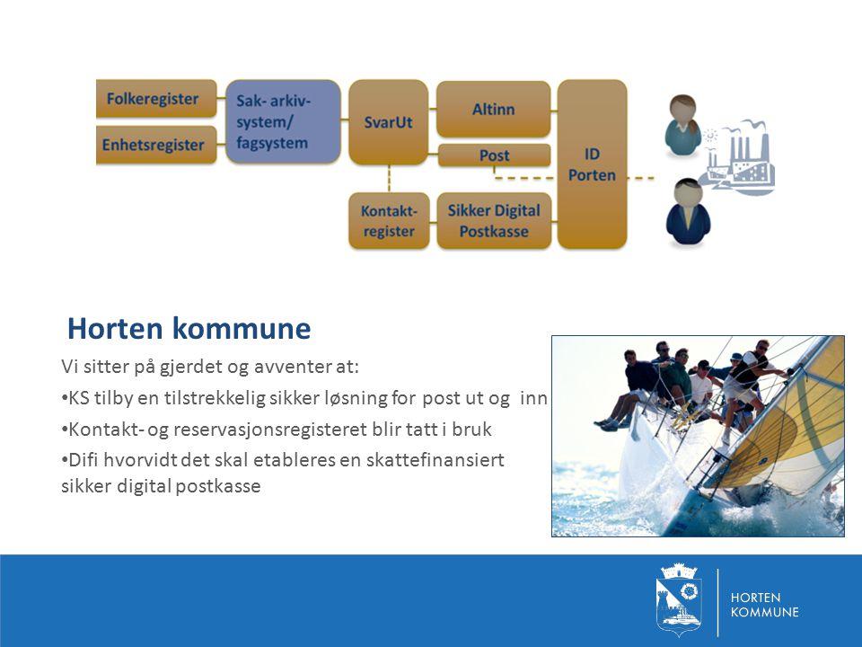 Horten kommune Vi sitter på gjerdet og avventer at: KS tilby en tilstrekkelig sikker løsning for post ut og inn Kontakt- og reservasjonsregisteret bli