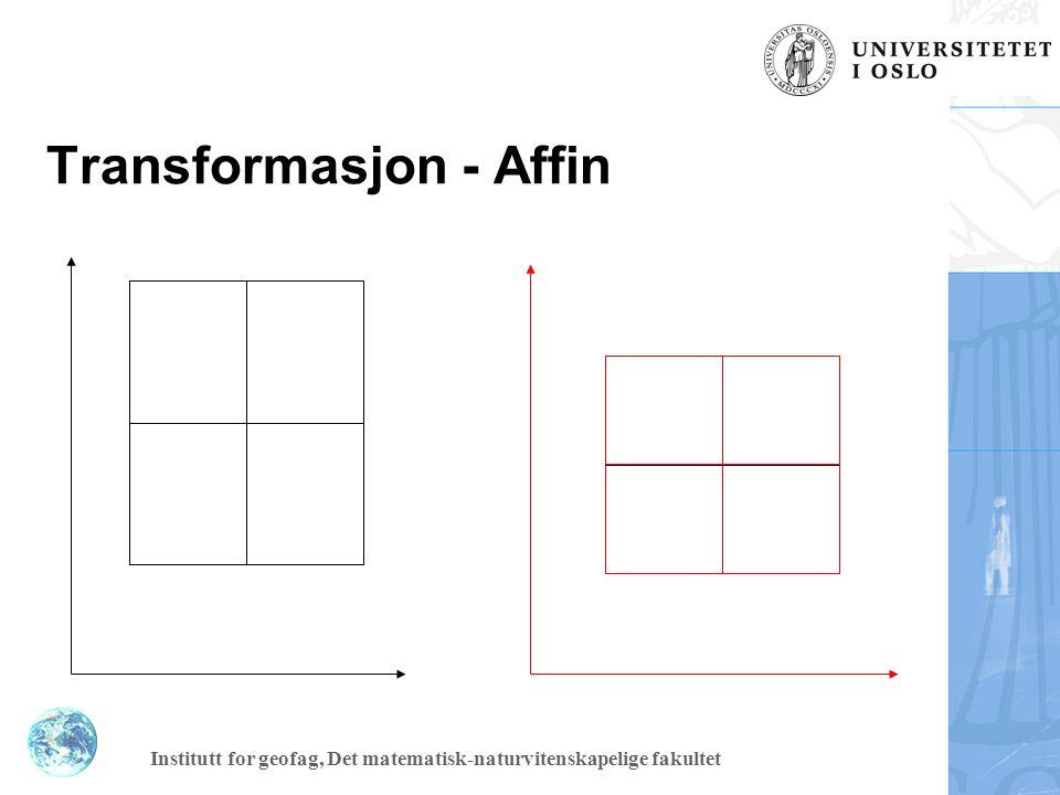 Institutt for geofag, Det matematisk-naturvitenskapelige fakultet Affin transformasjon Translasjon Rotasjon Ulik målestokksendring langs aksane => seks parametrar må finnast.