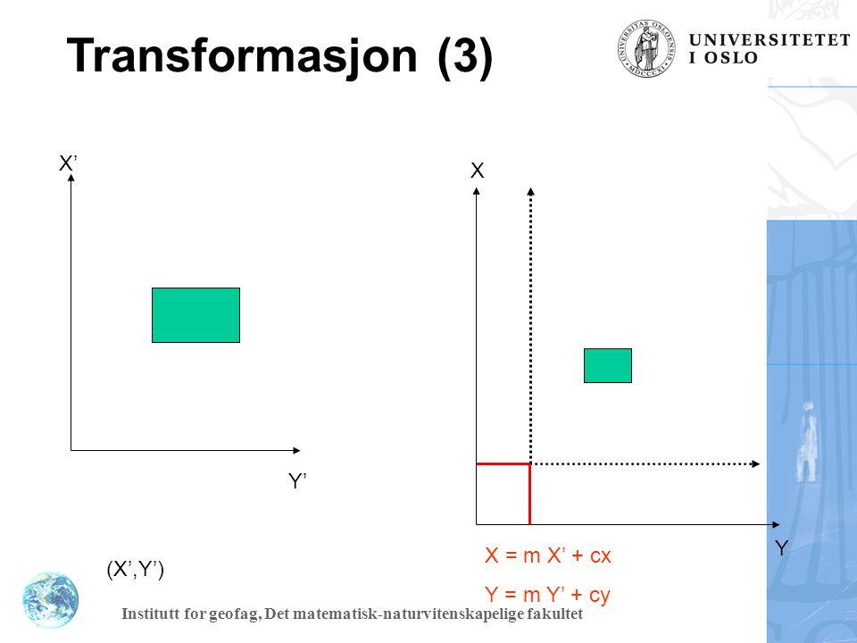 Institutt for geofag, Det matematisk-naturvitenskapelige fakultet Transformasjon (4) P X X' y' y X = x' cos a – y' sin a Y = x' sin a + y' cos a a