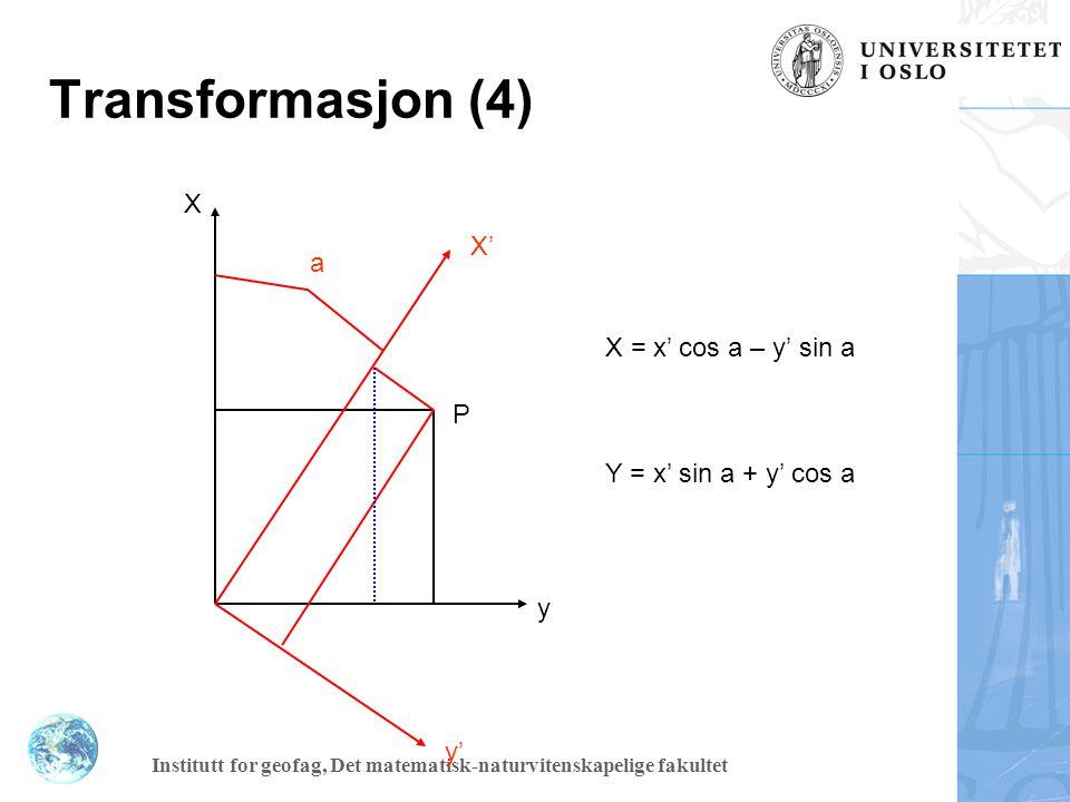 Institutt for geofag, Det matematisk-naturvitenskapelige fakultet X P = X P cos A - Y P sin A + Cx Y P = X P sin A + Y P cos A + Cy